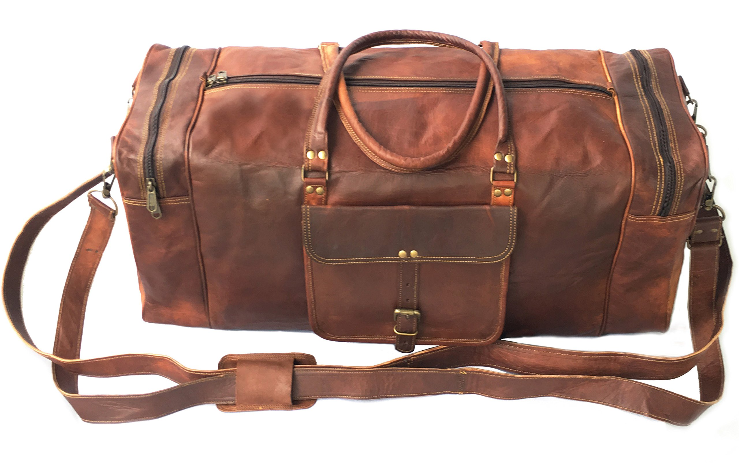 28'' Inch Real Goat Vintage Leather Large Handmade Travel Luggage Bags in Square Big Large Brown bag Carry On By KK's leather by cuero (Image #1)