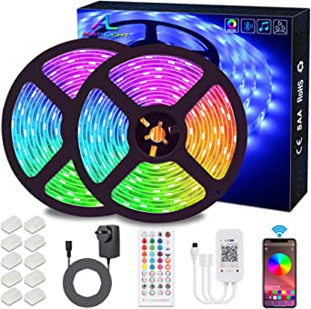 Bluetooth LED Strips Lights, ALED LIGHT 5050 RGB 2x5 meters LED Strip Lights 300 LED Waterproof Light Band Controlled by Remote Control 44K or Smart Phone for Home, Outdoors and Decoration [Energy efficiency class A +]
