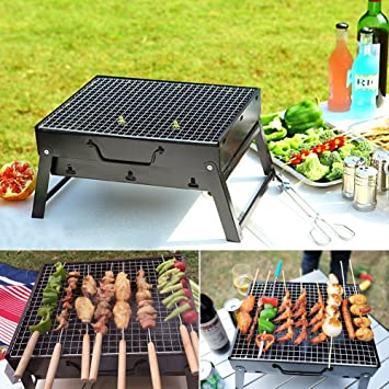 Charcoal BBQ Grill Folding Portable Stainless Steel Barbecue Grill For  Outdoor Camping Cookouts (13.8u0026quot;