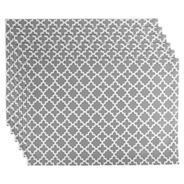 DII Lattice Cotton Placemat For Dinner Parties, Summer & Outdoor Picnics  - 13x 19 , Gray and White, Set of 6
