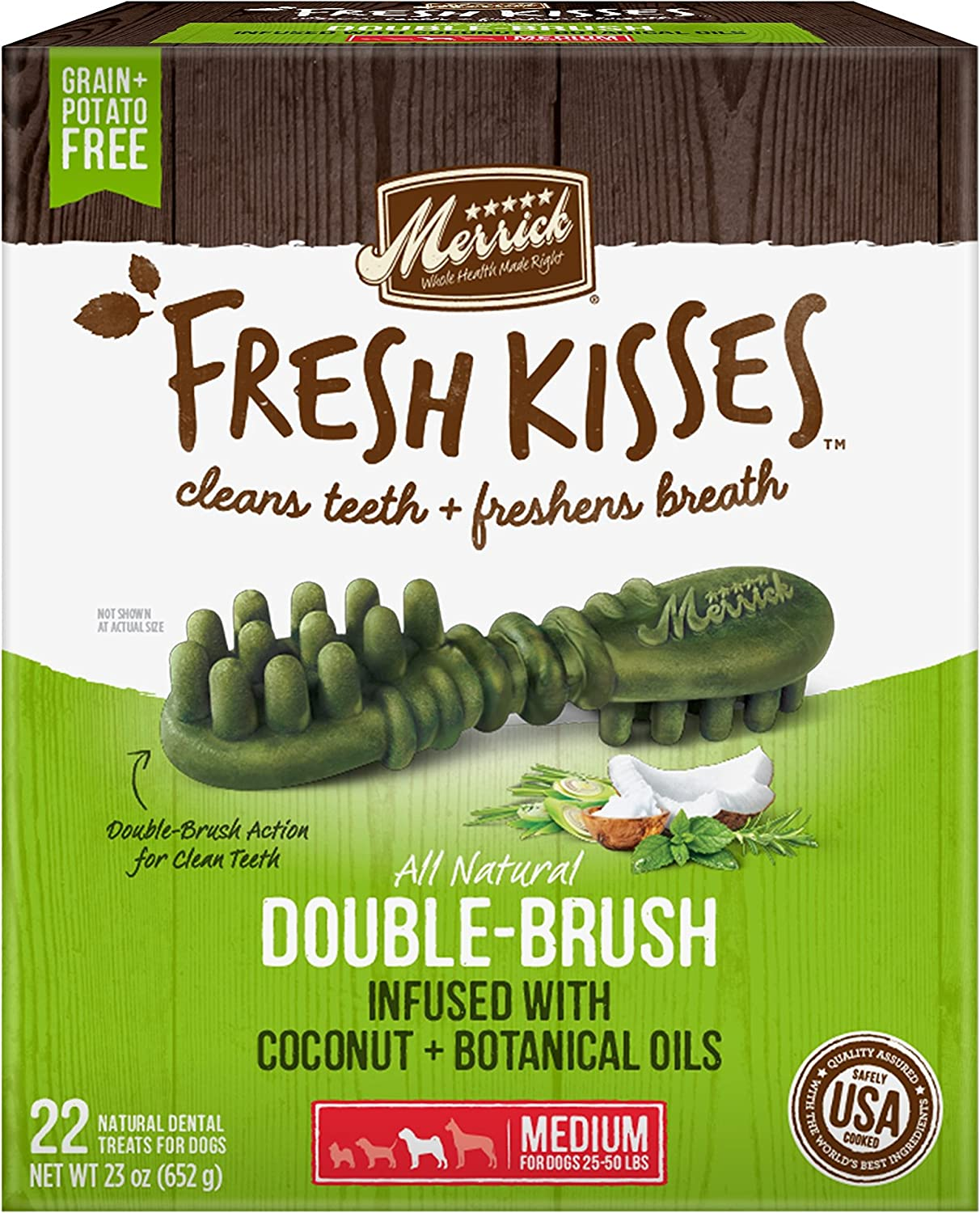 Merrick Fresh Kisses Double-Brush Coconut Botanical Oils Grain Free Dental Dog Treats