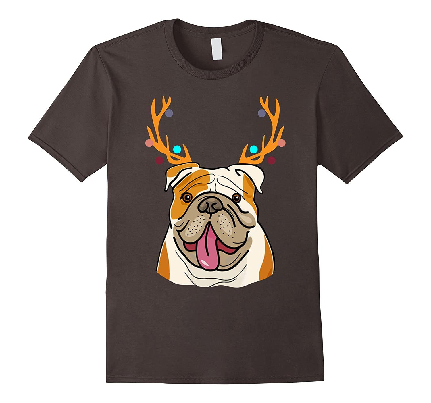 XMAS Funny Bulldogs with Antlers Christmas T Shirt Xmas Tee-TD