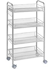 Homfa Rolling Cart Kitchen Trolley Vegetable Rack Serving Trolley 4 Mesh Storage Basket with 5 Side Hooks and Lockable Wheels Silver