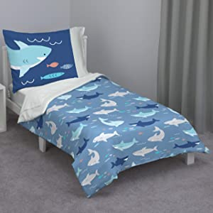 Everything Kids Navy & Light Blue Shark 4Piece Toddler Bed Set - Comforter, Fitted Bottom Sheet, Flat Top Sheet, Reversible Pillowcase, Navy, Light Blue, Grey, Teal