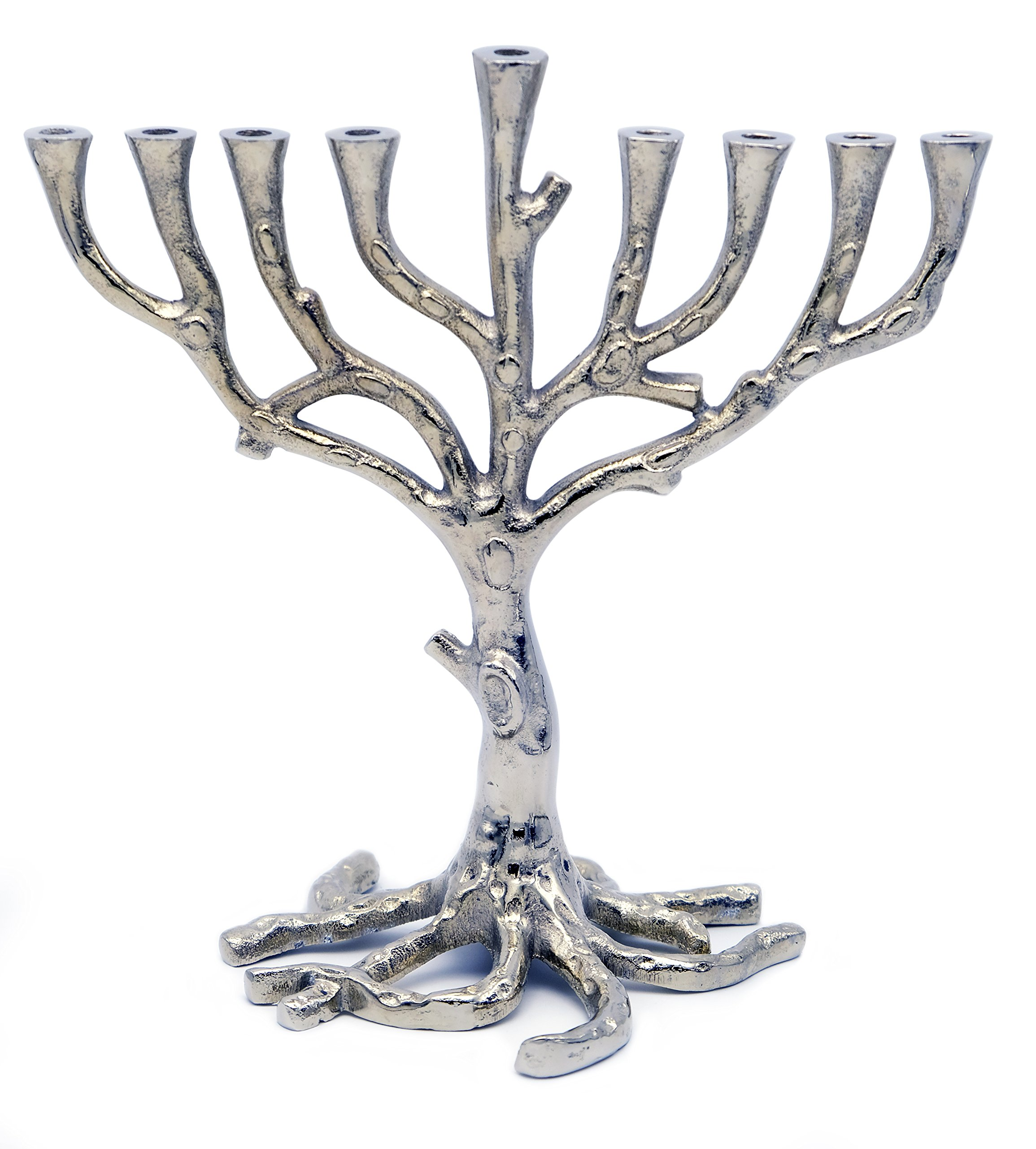Menorah Tree of Life Rustic Nickel Finish For Hanukkah