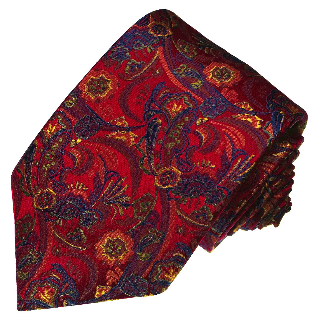 Lorenzo Cana - Luxus Krawatte aus 100% Seide in den aktuellen Trendfarben - rot blau Paisley - 36001