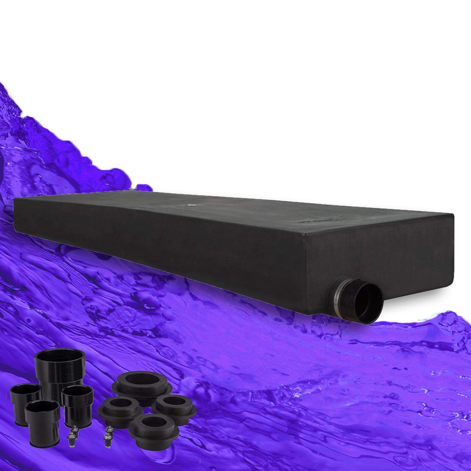 RecPro 42 Gallon RV Holding Tank 66'' x 21'' x 9'' | Black Waste Water | 366H | Includes Universal Installation Fittings Kit