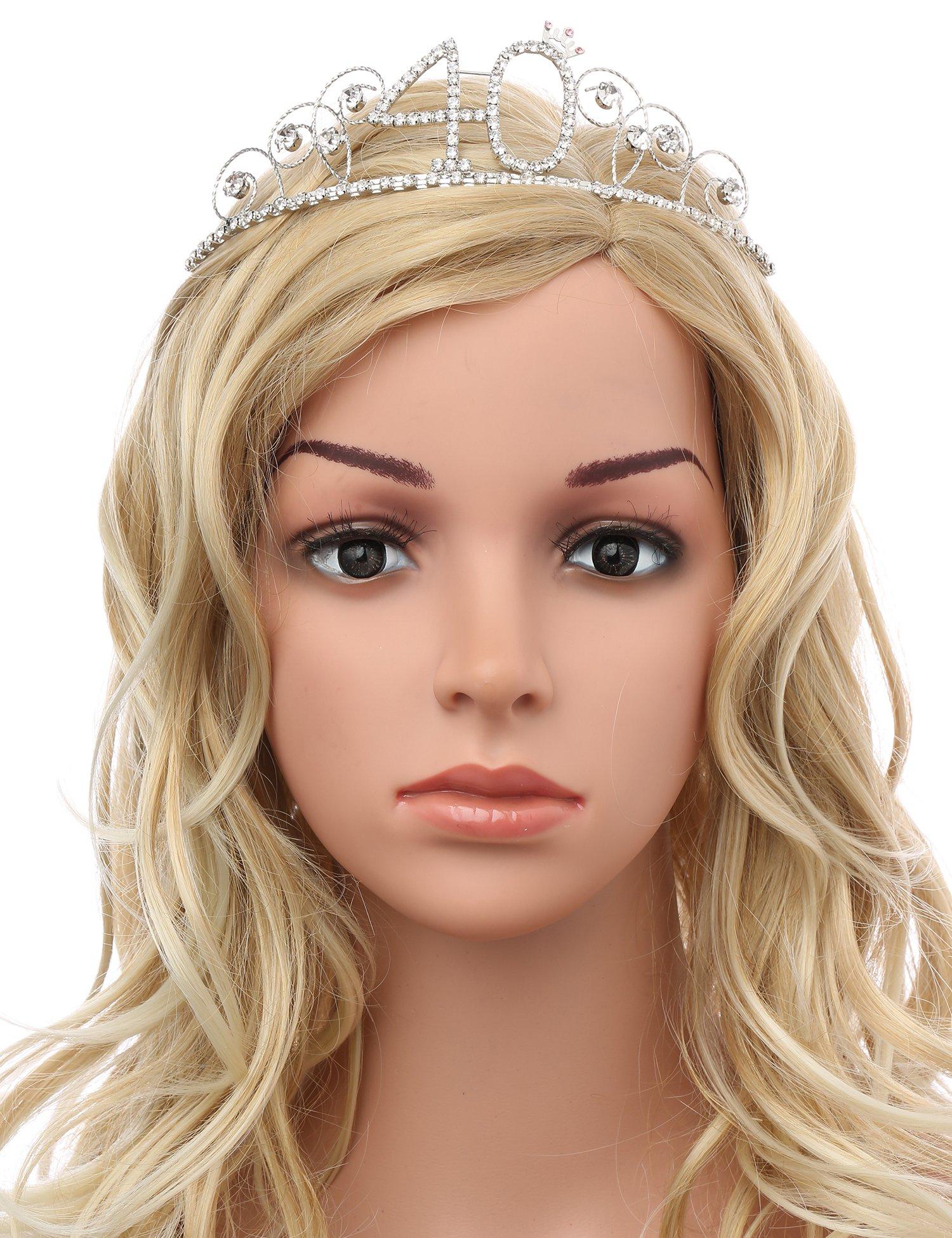 BABEYOND Crystal Tiara Birthday Crown Princess Crown Hair Accessories Silver Diamante Happy 40th Birthday (40 Birth) by BABEYOND (Image #3)