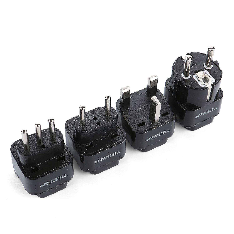 TESSAN Grounded Universal Travel Plug Adapter International European Travel Plug USA to UK/Italy/HK/GermanyFrance/ect PlugAdapter Set-4 Pack
