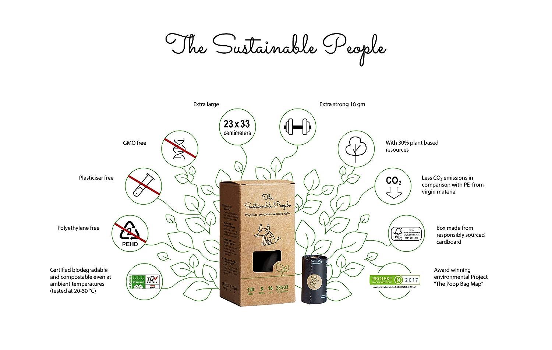 TSP Premium bolsas para caca – Basado en almidón – 100% compostable y biodegradable, certificado OK compost HOME y EN13432 (sin OXO, libre de Epi y ...