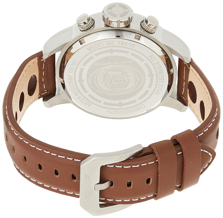 Invicta kvartsklocka för män med kronograf display och läderrem Silver/guld