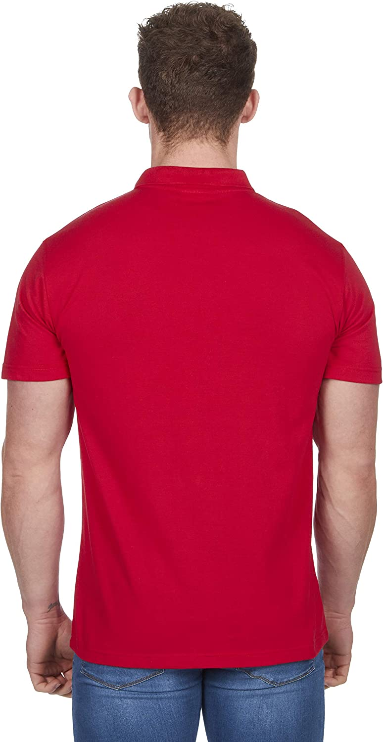 Mens Polo Shirt Classic Plain Big and Tall Plus Size T-Shirts Red