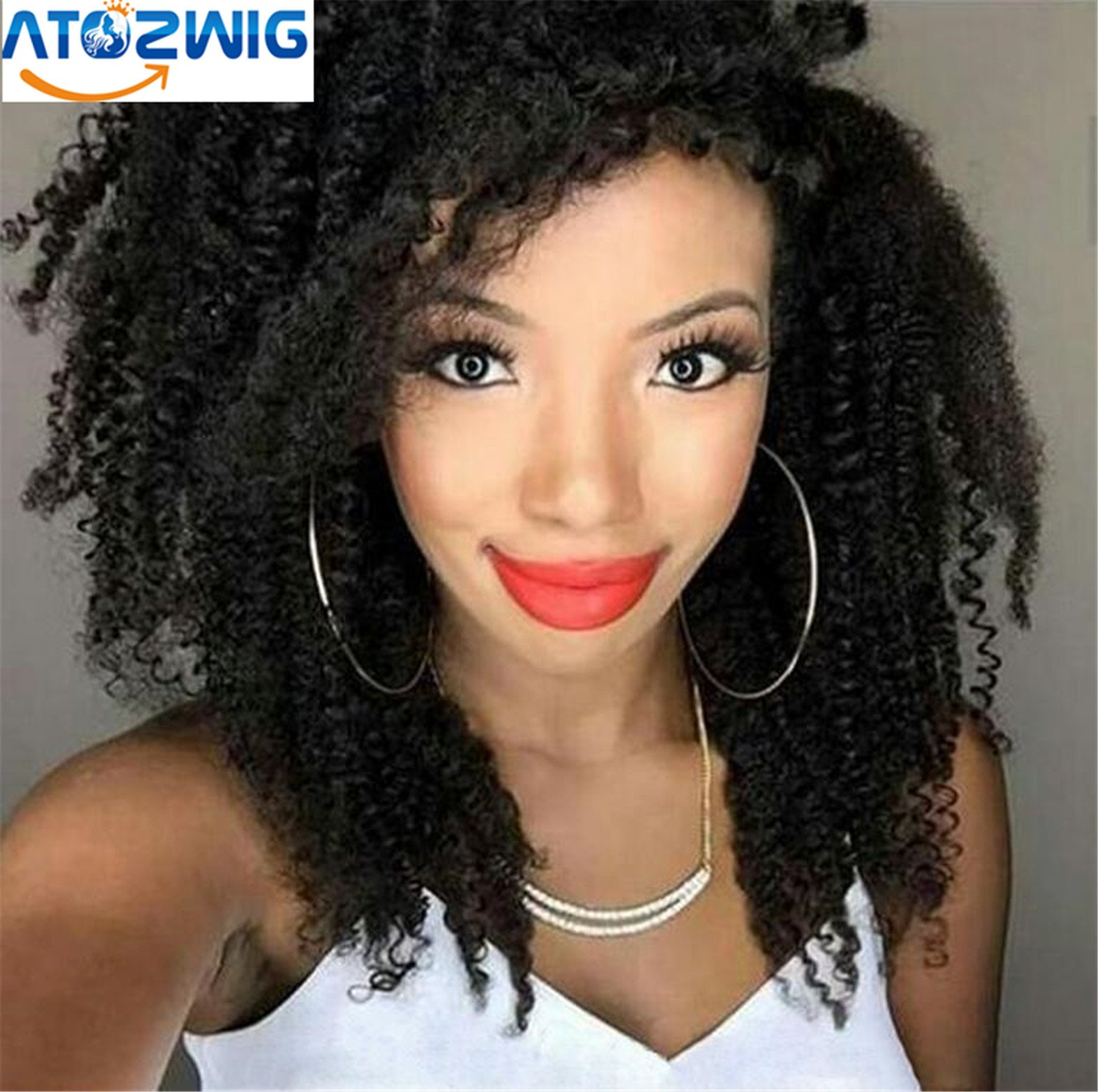 ATOZWIG 180 density full lace kinky curly wig perruque peruvian curly lace wig afro curly lace short lace front wig for black women