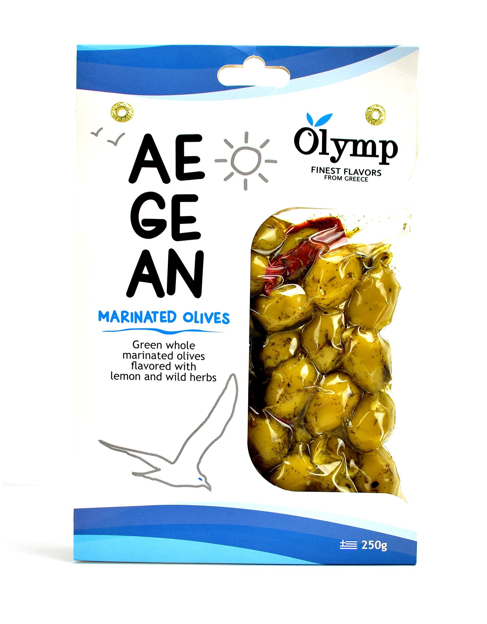 Greek Olives Marinated With Lemon and Wild Herbs By Olymp | Aegean Natural Green Whole Olives | 250gram