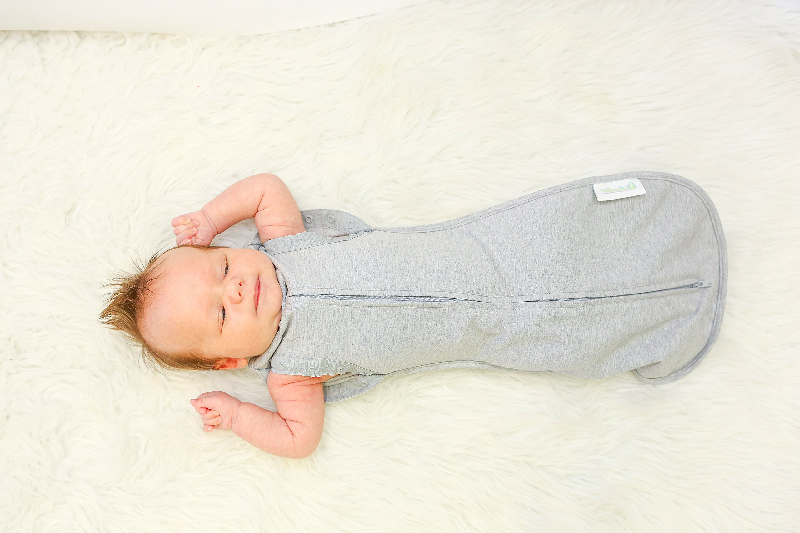 Woombie Convertible Baby Swaddle Blanket, Converts to Wearable Blanket for Babies Up to 6 Months, Grey, 14-19 lbs by Woombie