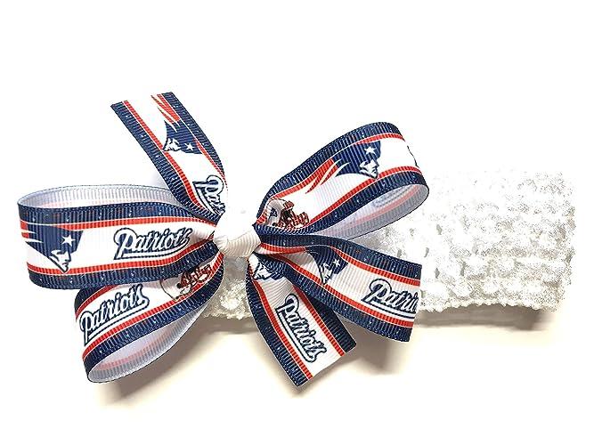 4ffb684b6360c Amazon.com  Girls New England Patriots Headband Patriots Football NFL Hair  Bow For Newborn Baby Girl Hair Accessories  Handmade