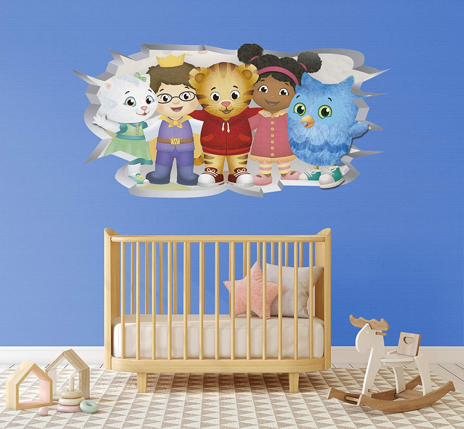 "Broken Wall 3D Effect - Daniel Tiger and his Friends - Removable Wall Decal Vinyl for Home Decoration (19"" x 10"")"