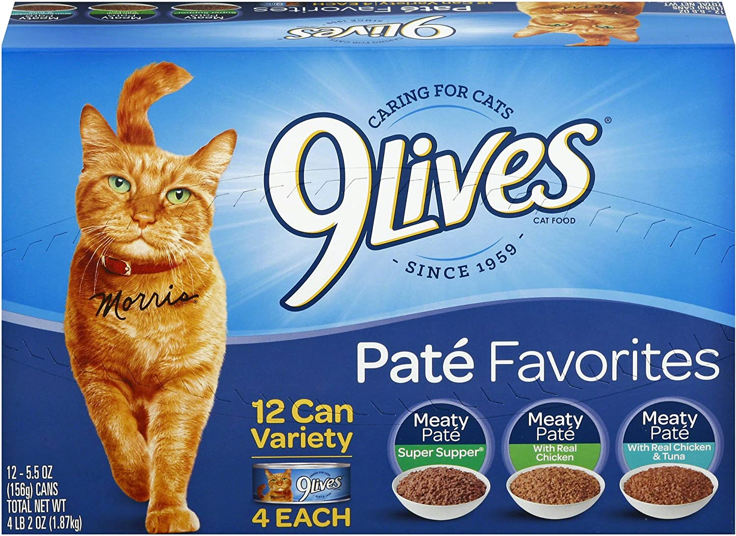 9 Lives Pate Favorites Variety Pack Canned Cat Food, Pack Of 12 Cans, 5.5 Ounce