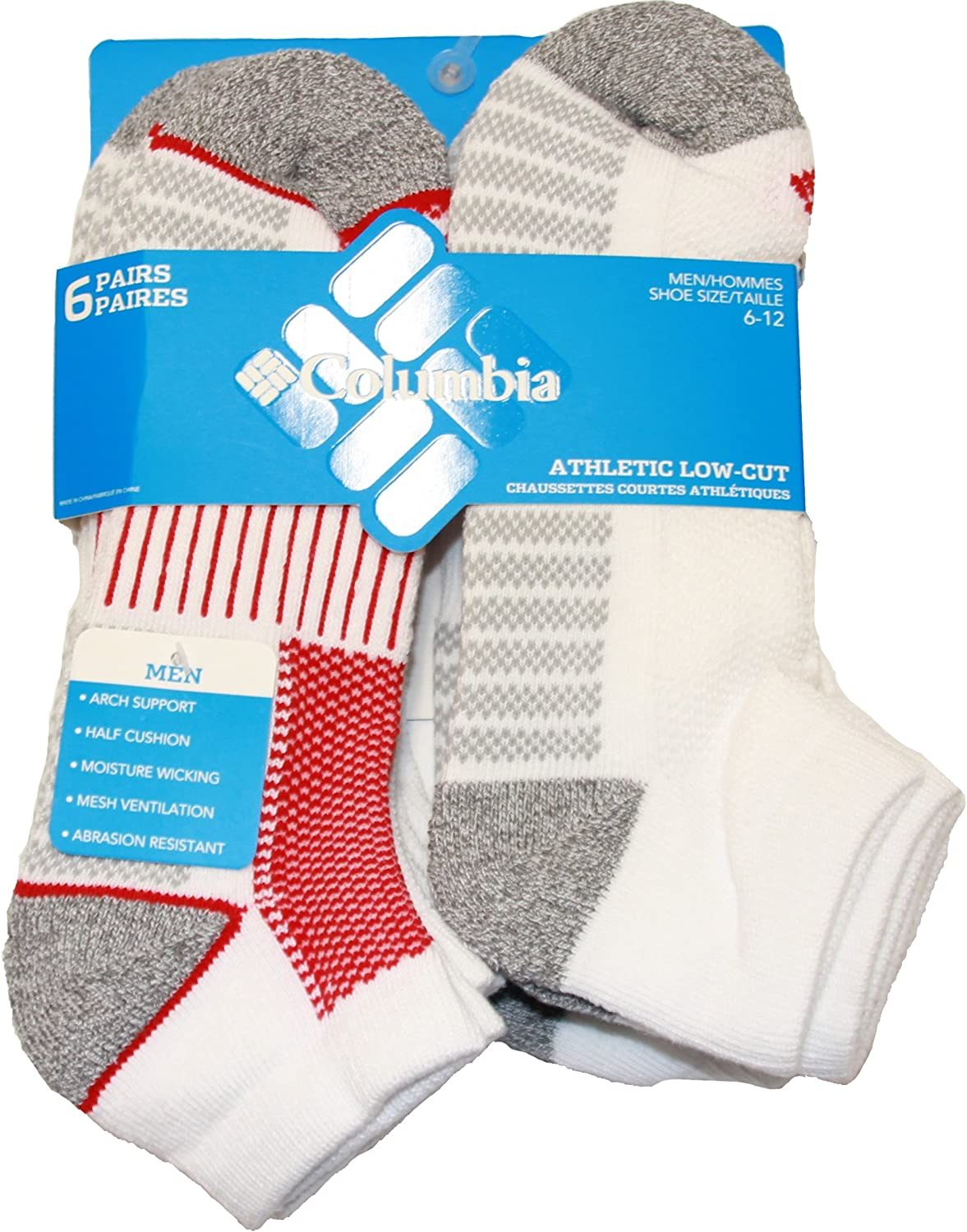 Columbia Men's 1/2 Cushion Quarter Arch Support Poly Blend Sock, 6 Pair