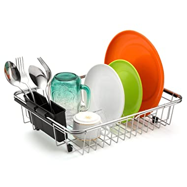 iPEGTOP Expandable Dish Drying Rack, Over the Sink, In Sink Or On Counter Dish Drainer with Black Removable Utensil Holder, Rustproof Stainless Steel