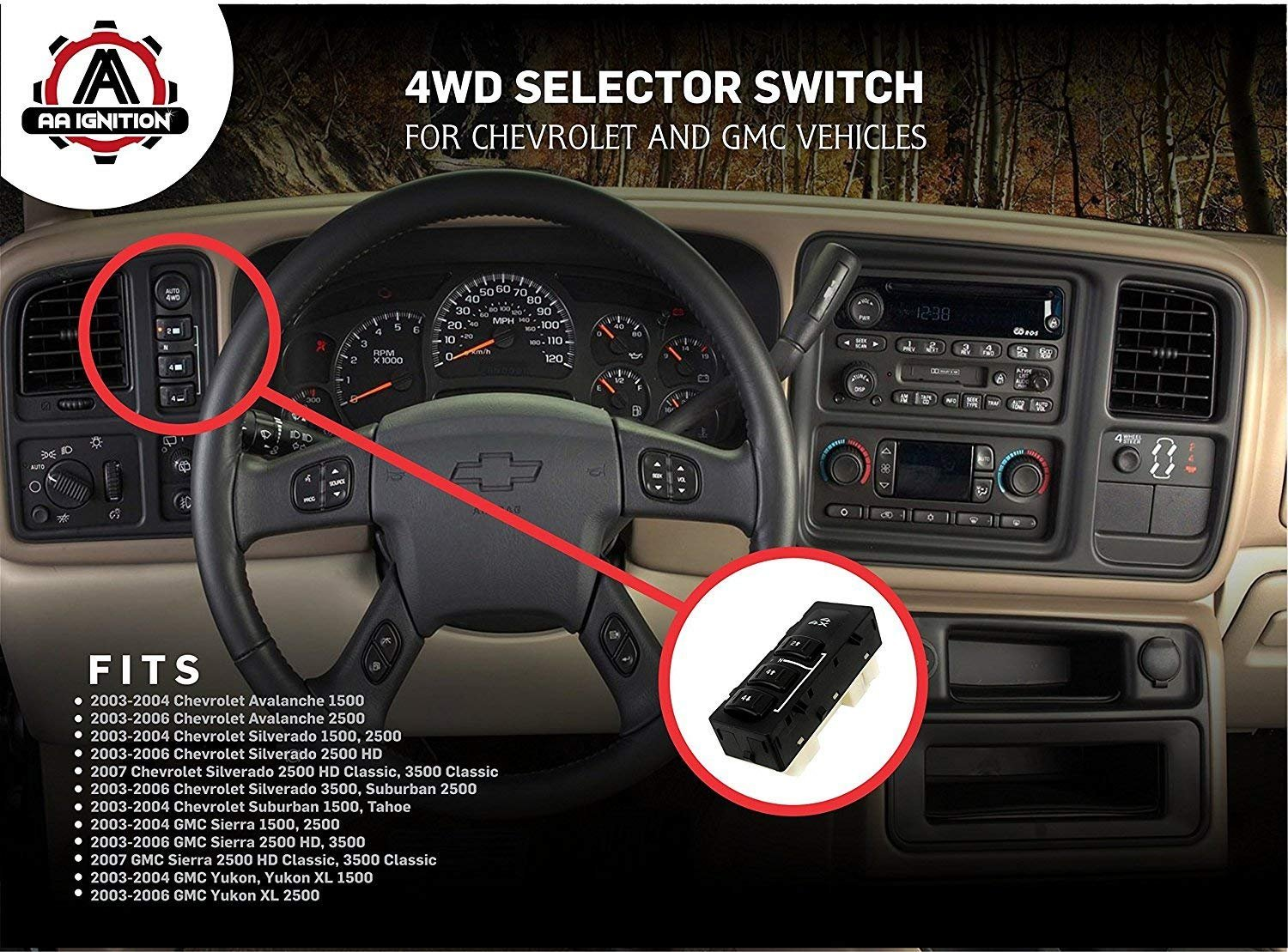 19259312 15164519 4WD Selector Switch 3 Button 4x4 Wheel Drive Without Auto for 2003-2007 Chevy Silverado Suburban Avalanche GMC Yukon XL Sierra 15136040