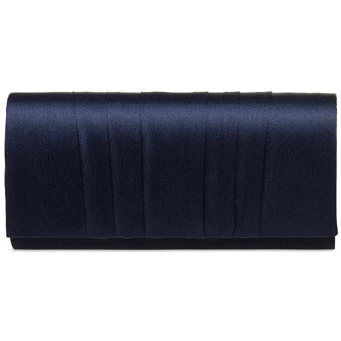CASPAR TA390 Bolso de Mano Fiesta para Mujer Clutch Decoración Drapeada, Color:azul oscuro, Talla:Talla Única: Amazon.es: Ropa y accesorios
