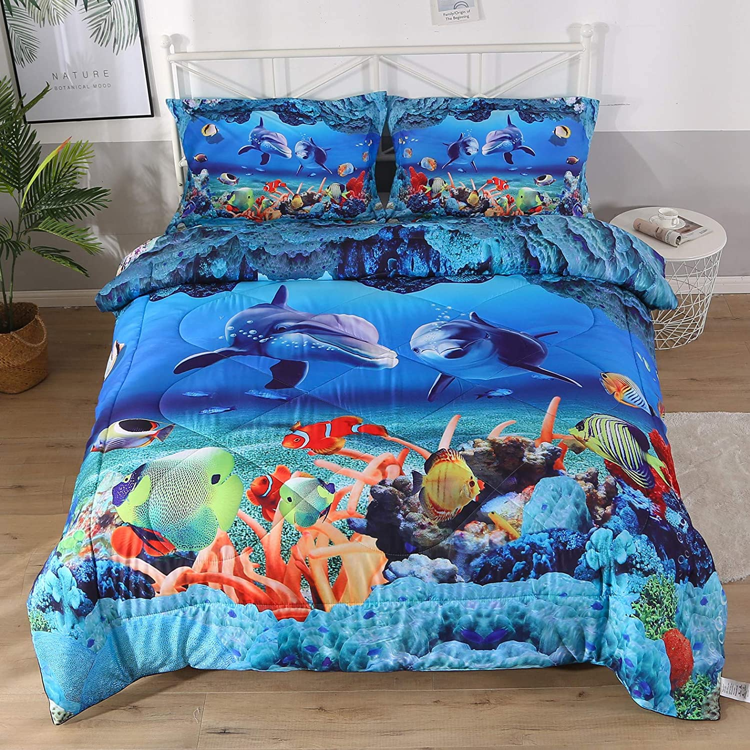 Qucover Blue Ocean Comforter Sets, 3D Dolphin Bedding Sets Toddle Bedding 1 Bed Comforter+2 Pillow Shams for Children Kids Boys Girls Full Size