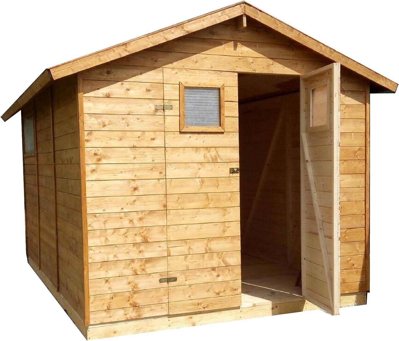 CADEMA - Casa de madera para jardín, 3, 3 x 3, 9 m, (16 mm) con ...