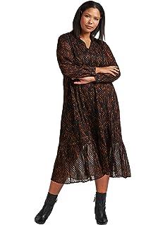 4d7fda766fb992 Zizzi Damen Maxikleid Langarm 7/8 Lang Kleid Durchsichtig, Große Größen 42- 56