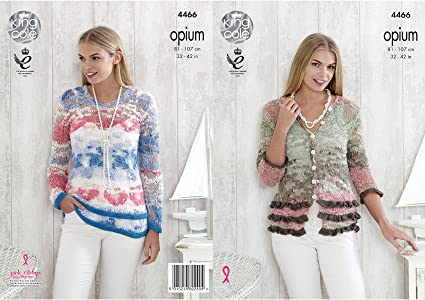 6b0a1b375 Image Unavailable. Image not available for. Colour  King Cole 4466 Knitting  Pattern Ladies Cardigan and Sweater in Opium
