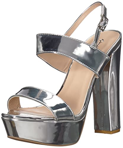 717cde127b5d Qupid Women s BEAT-44 Heeled Sandal Silver 10 M US