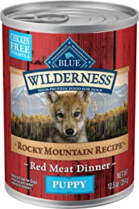 Blue Buffalo Wilderness Rocky Mountain Recipe High Protein Grain Free Natural Puppy Wet Dog Food, Red Meat 12.5-oz cans (Pack of 12)