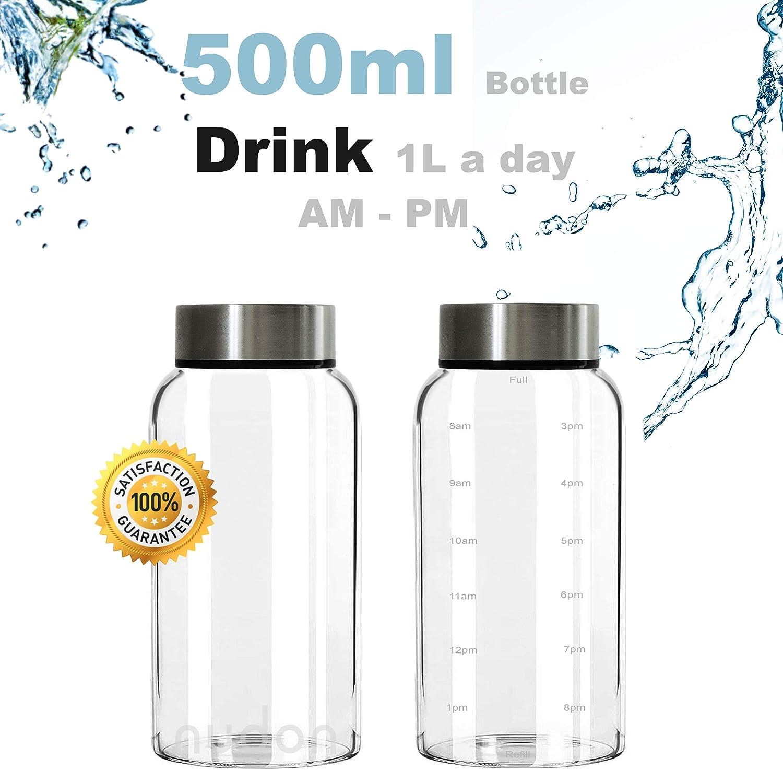 la Escuela con Marcas de Tiempo para Mantenerse hidratado de Boca Ancha Actividades Deportivas y al Aire Libre nudon a Prueba de Fugas Botella de Vidrio Viajes sin BPA Ideal para el Trabajo