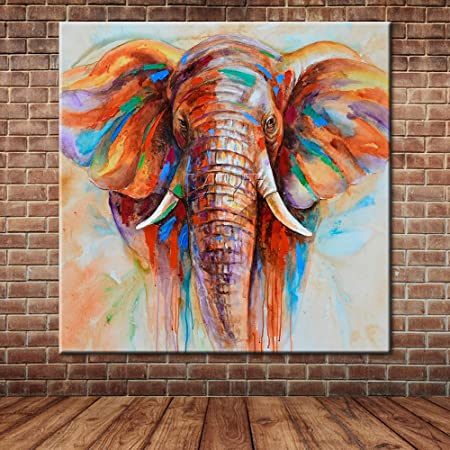 IPLST African Elephant Cute Animal Oil Painting Canvas Art Large Wall Mural Picture Decoration
