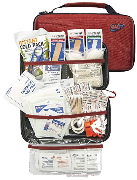 AAA 121 Piece Road Trip First Aid Kit packaged in compact hard shell foam  carry case e49cbea4e938c