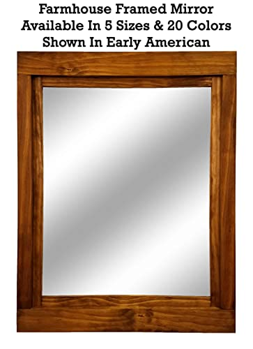 Farmhouse Large Framed Mirror Available in 6 Sizes and 20 Stain Colors: on farmhouse interior design, farmhouse exterior design, farm style kitchen design,