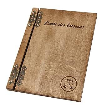 Tarjeta de las bebidas de madera grabado láser restaurante ...