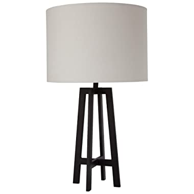 Stone & Beam Deco Black Metal Table Lamp, 20.75 H, With Bulb, White Shade