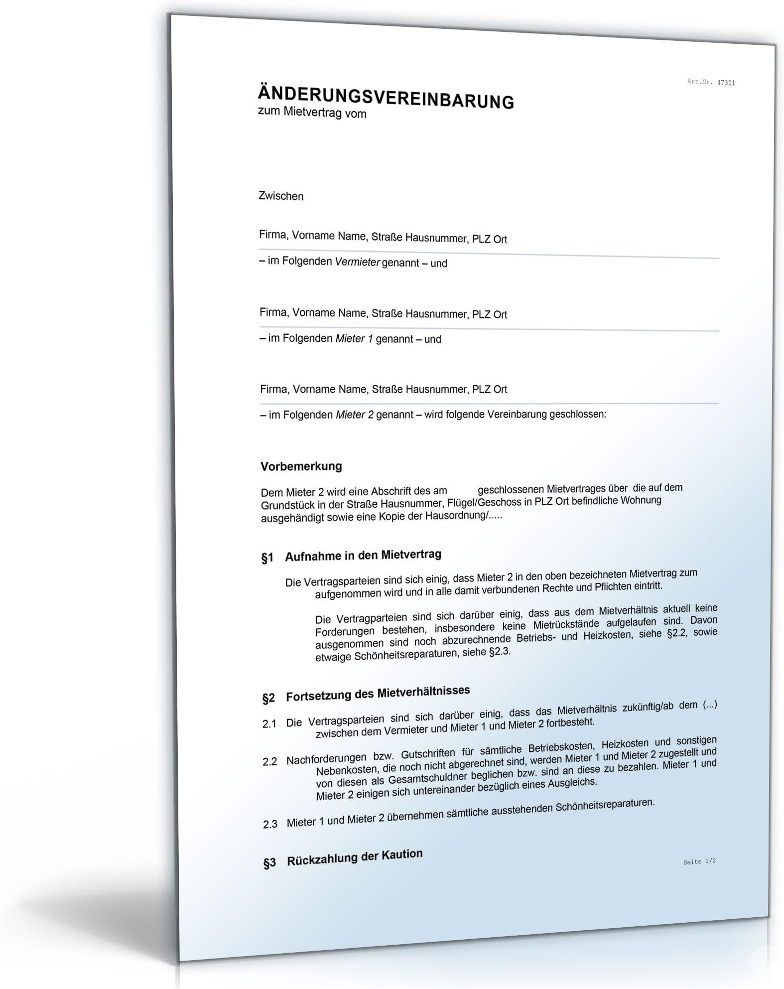 18 Neu Einfacher Mietvertrag Vorlage Kostenlos