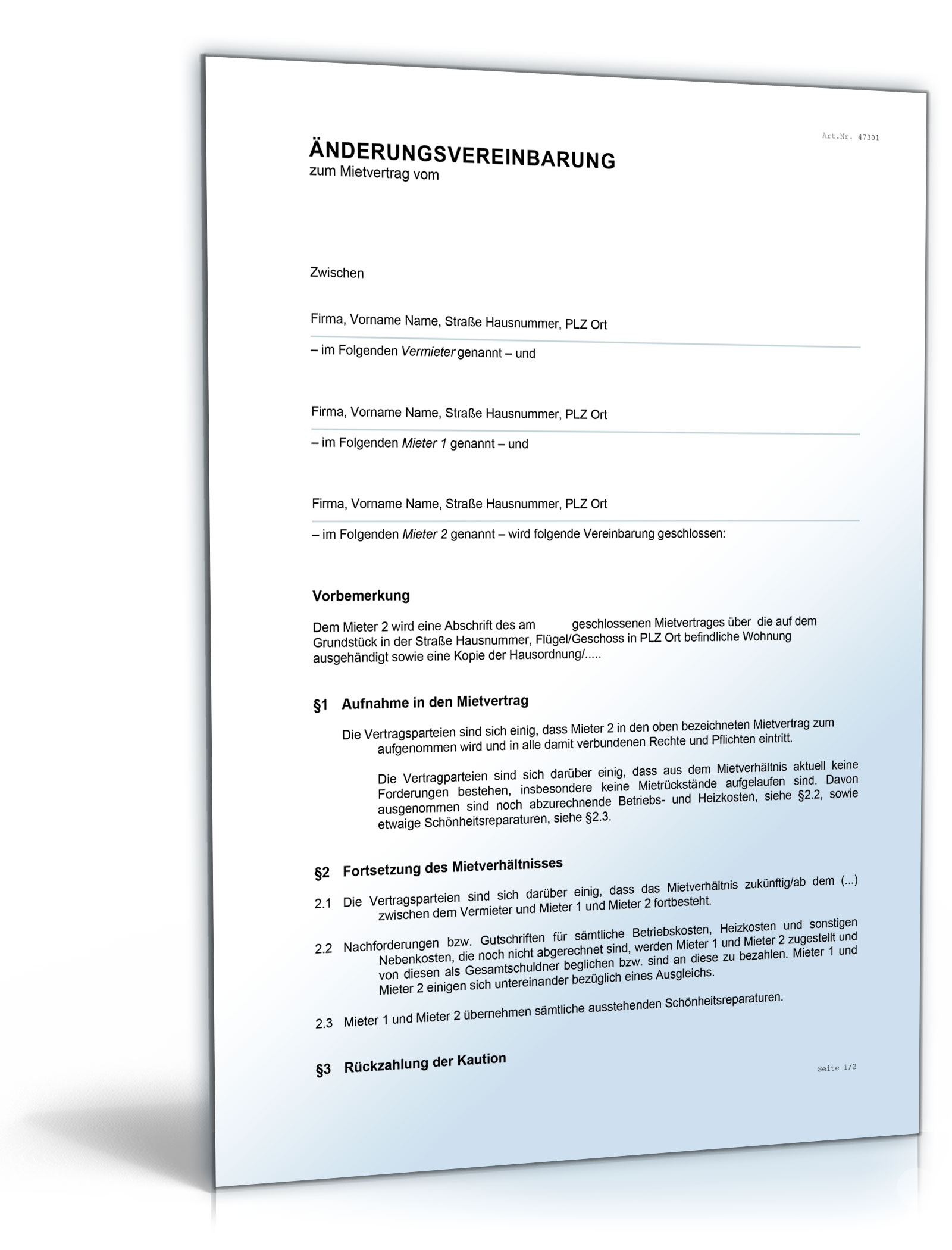 Änderungsvereinbarung Mietvertrag [Word Dokument]: Amazon.de: Software