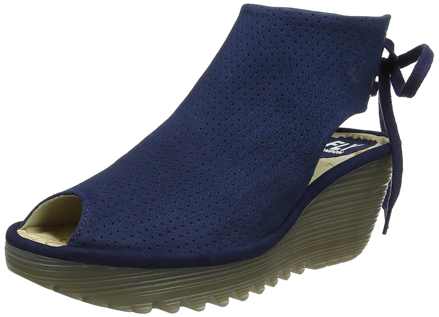 FLY London Womens Ypul Nubuck Wedge Heel Open Toe Platform Summer Sandal B077C49M9J 39 EU (8-8.5 B(M) US Women)|Blue