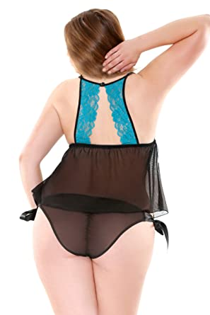 a7960ebafe1 Fantasy Lingerie Women s Plus-Size Stretch Lace Cup Babydoll with Side Tie  Panty