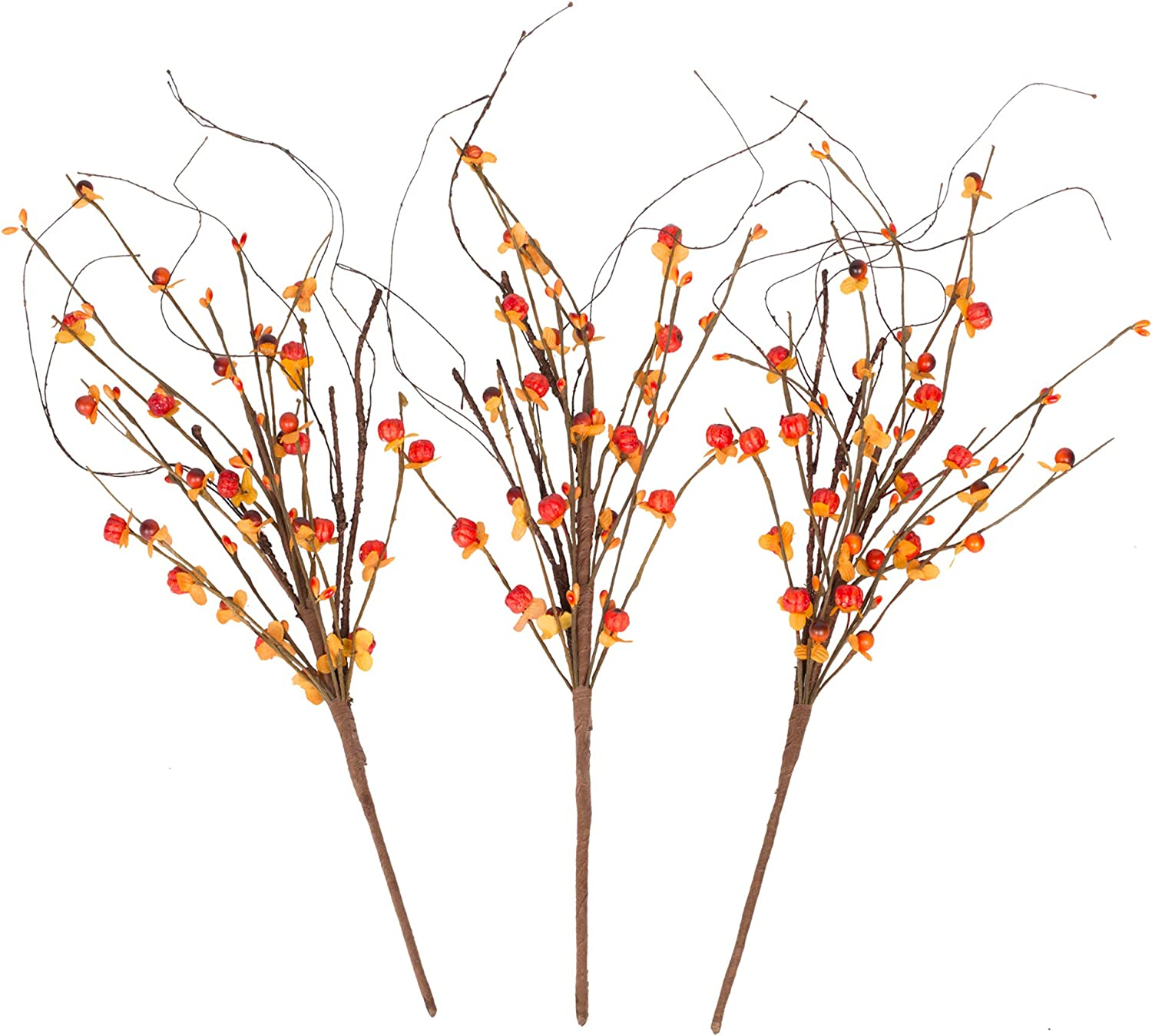 VGIA 18Inch3 PacksRed Berry PicksArtificialRedBerry BranchesFallDecorations HomeDecor