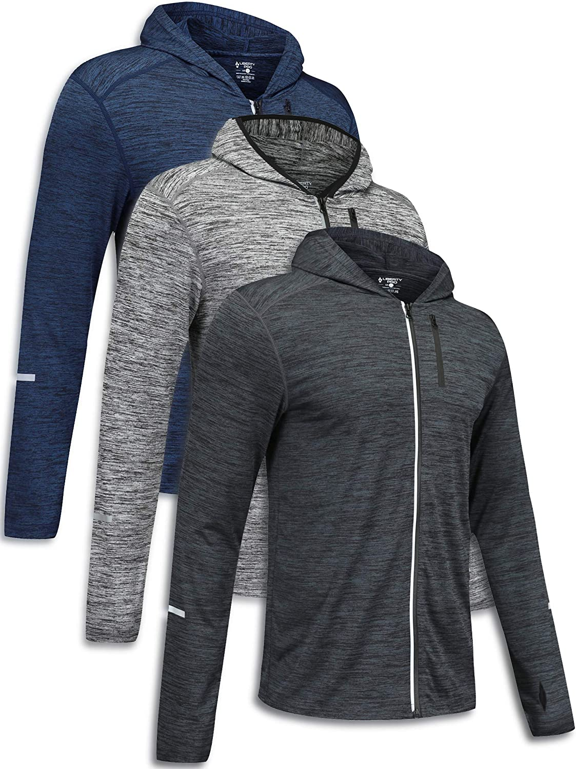 Athletic Running Cycling Gym Tops Bulk Bundle 3 Pack Mens Long Sleeve Active Zipper Shirts Quick Dry Pullovers