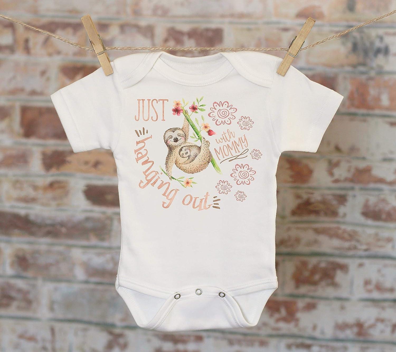 Just Hanging Out With Mommy Sloth Onesie® , Funny Onesie, Cute Onesie, Cute Baby Bodysuit, Boho Baby Onesie, Girl Onesie