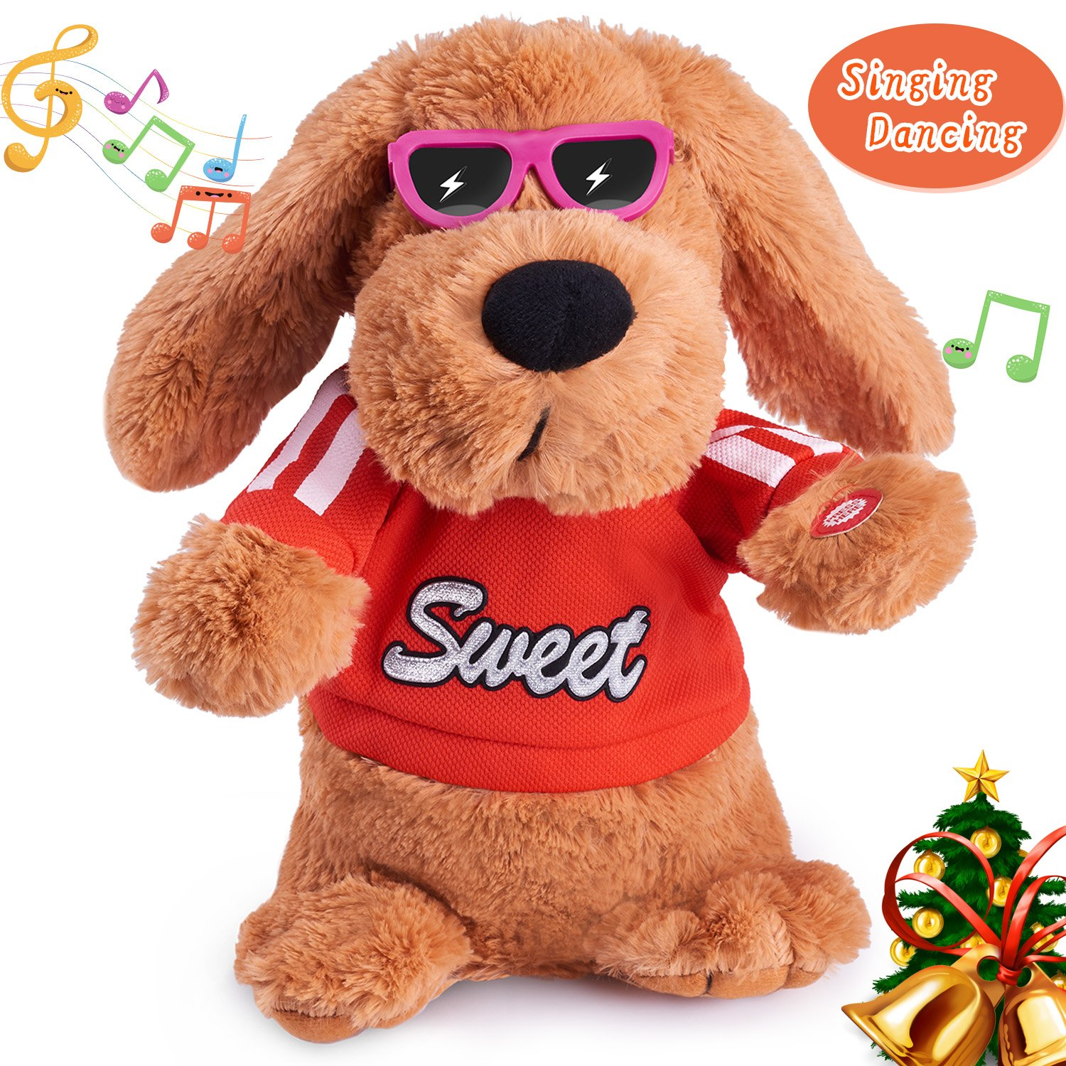Musical Dancing Singing Electronic Dog Interactive Puppy Pet Toy Animated Pet , Flying Ears, Rock Body, Singing 6 Songs Plush Dog Toys for Girls Boys Kids Toddlers Baby Toy Gifts by Marsjoy