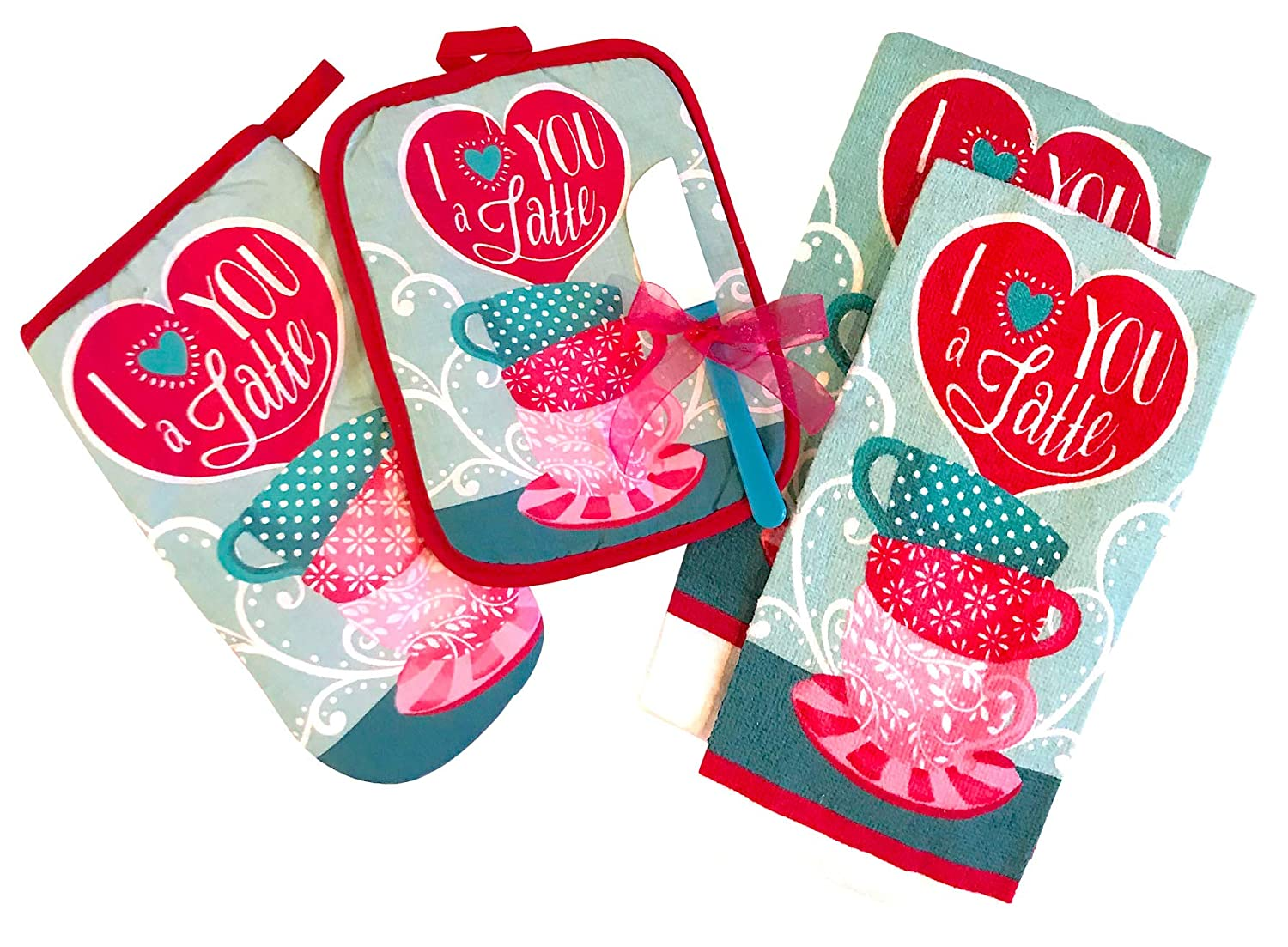 Valentines Kitchen Towels and Oven Set: 2 Towels, 1 Pot Holder, 1 Oven Mitt with Matching Mini Spatula