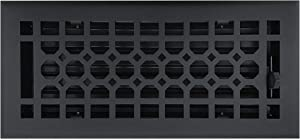 Empire Register Co, Honeycomb Design, Textured Black Finish, in Cast Iron Look, Heavy Duty Floor Register. Floor Vent Covers Size - 4 x 10 inch, Overall Face Size - 5.5 x 11.5 inch.