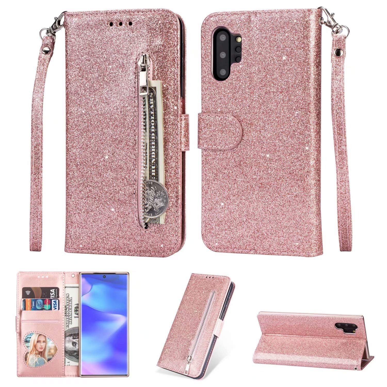 DAMONDY for Galaxy Note 10 Plus Case,Bling Zipper Stand Wallet Purse Card Slot ID Holders Design Flip Leather Cover Pocket Purse Magnetic Protective for Samsung Galaxy Note 10 Plus 2019-rose Gold by DAMONDY