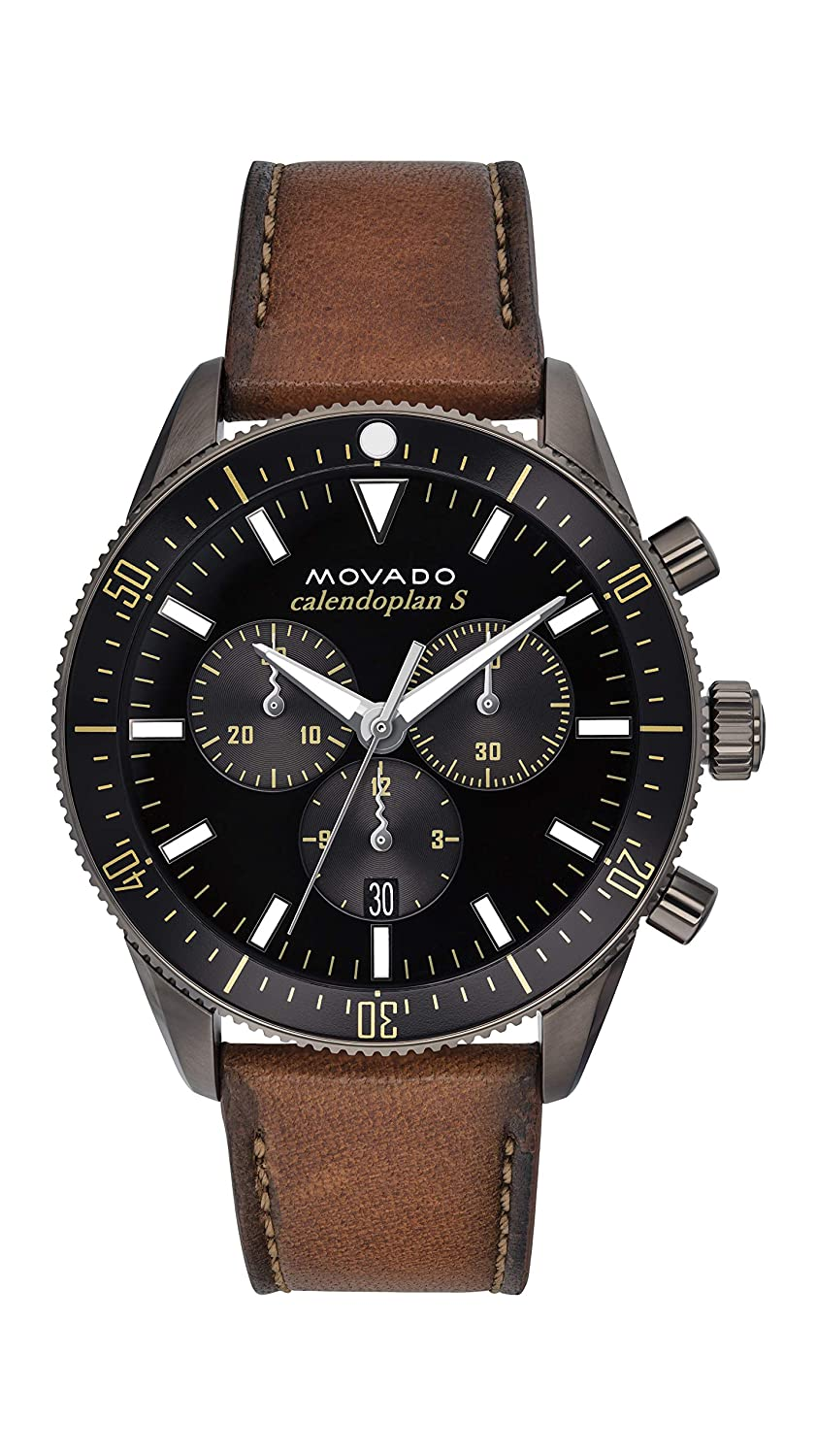 88d1611c7 Amazon.com: Movado Men's Heritage Chronograph Watch with a Printed Index  Dial, Grey/Brown/Black (Model 3650060): Watches